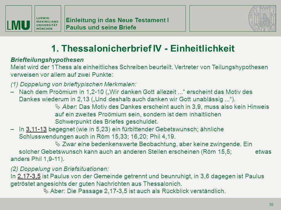 1. Thessalonicherbrief IV - Einheitlichkeit