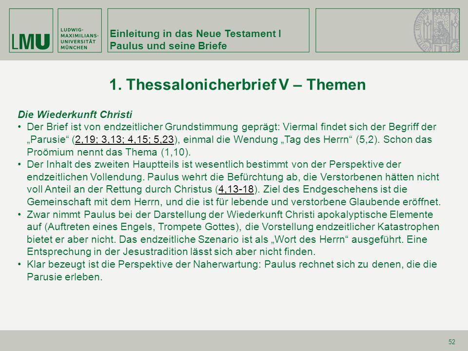 1. Thessalonicherbrief V – Themen
