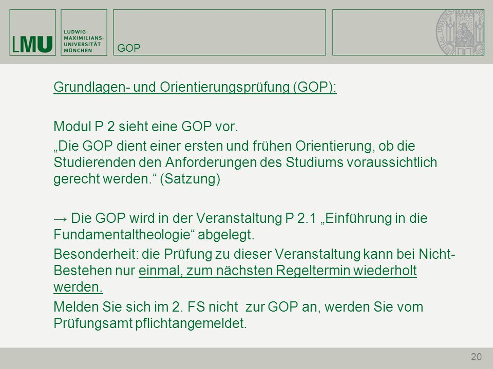 Grundlagen- und Orientierungsprüfung (GOP):