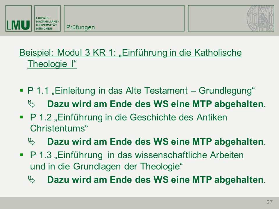 """Beispiel: Modul 3 KR 1: """"Einführung in die Katholische Theologie I"""