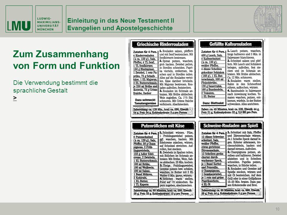 Zum Zusammenhang von Form und Funktion