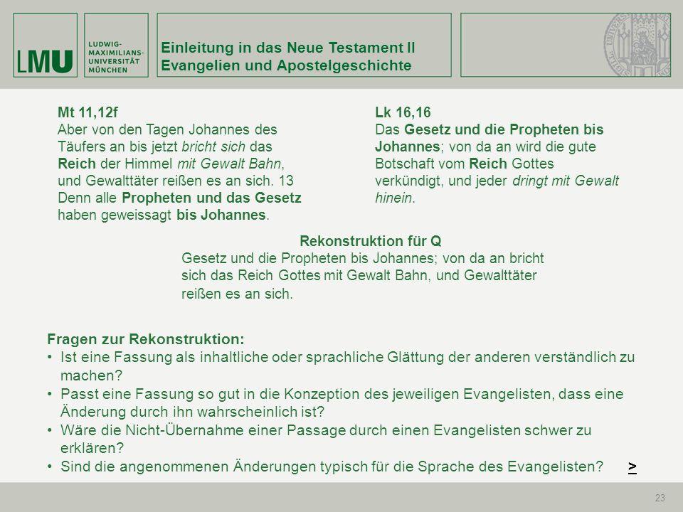 Einleitung in das Neue Testament II Evangelien und Apostelgeschichte