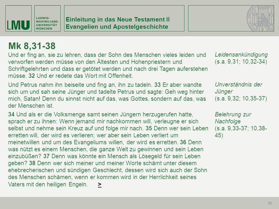 Mk 8,31-38 Einleitung in das Neue Testament II