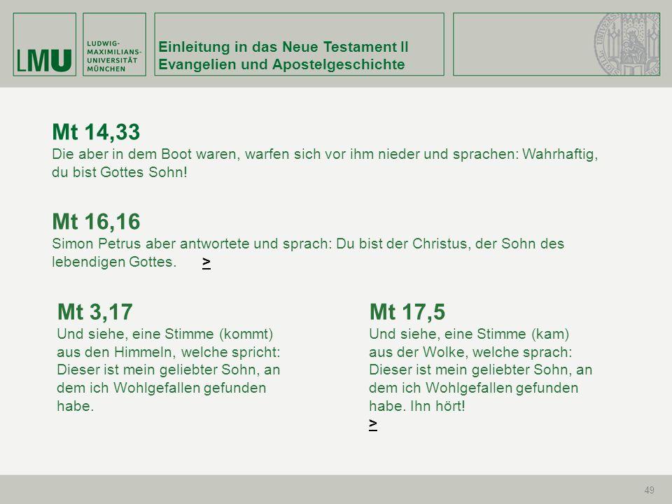 Mt 14,33 Mt 16,16 Mt 3,17 Mt 17,5 Einleitung in das Neue Testament II