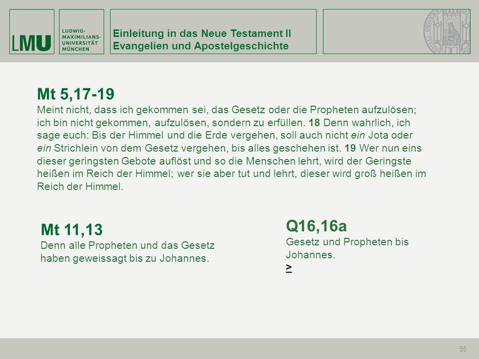 Mt 5,17-19 Q16,16a Mt 11,13 Einleitung in das Neue Testament II