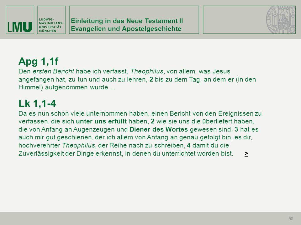 Apg 1,1f Lk 1,1-4 Einleitung in das Neue Testament II