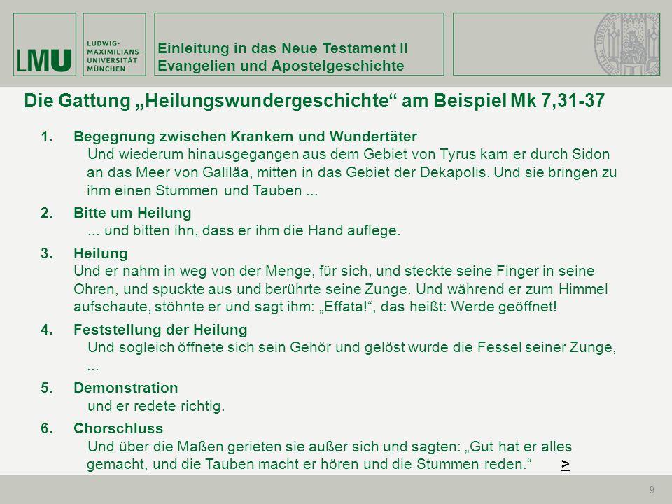 """Die Gattung """"Heilungswundergeschichte am Beispiel Mk 7,31-37"""
