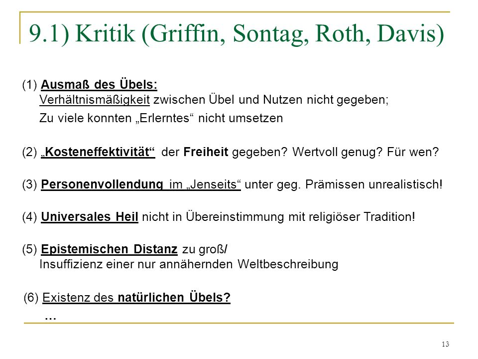 9.1) Kritik (Griffin, Sontag, Roth, Davis)