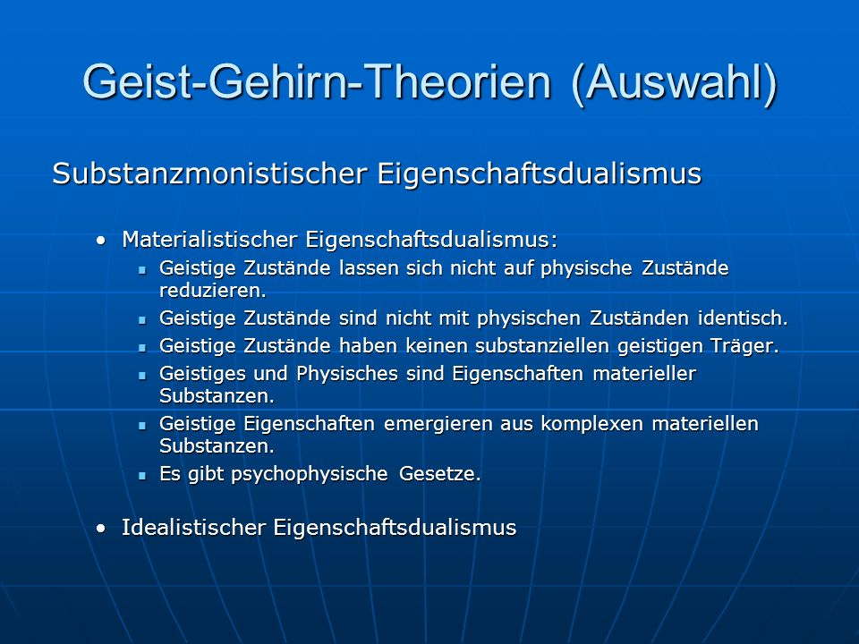 Geist-Gehirn-Theorien (Auswahl)