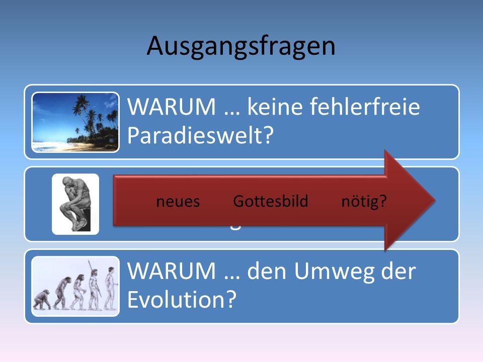 Ausgangsfragen WARUM … keine fehlerfreie Paradieswelt