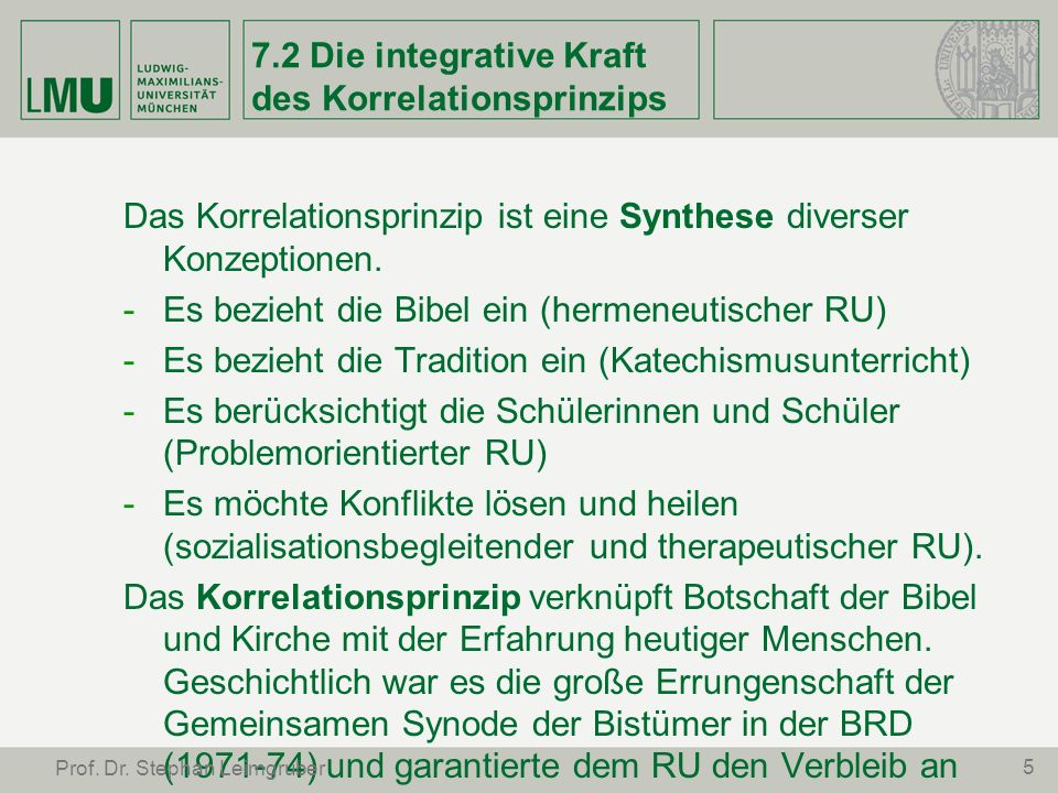 7.2 Die integrative Kraft des Korrelationsprinzips