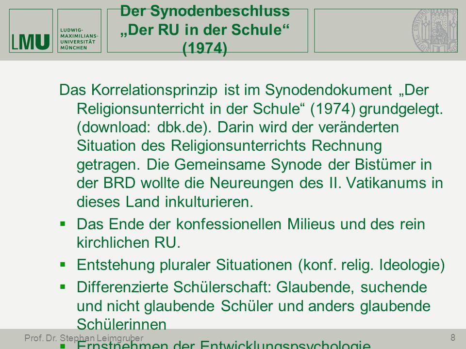 """Der Synodenbeschluss """"Der RU in der Schule (1974)"""