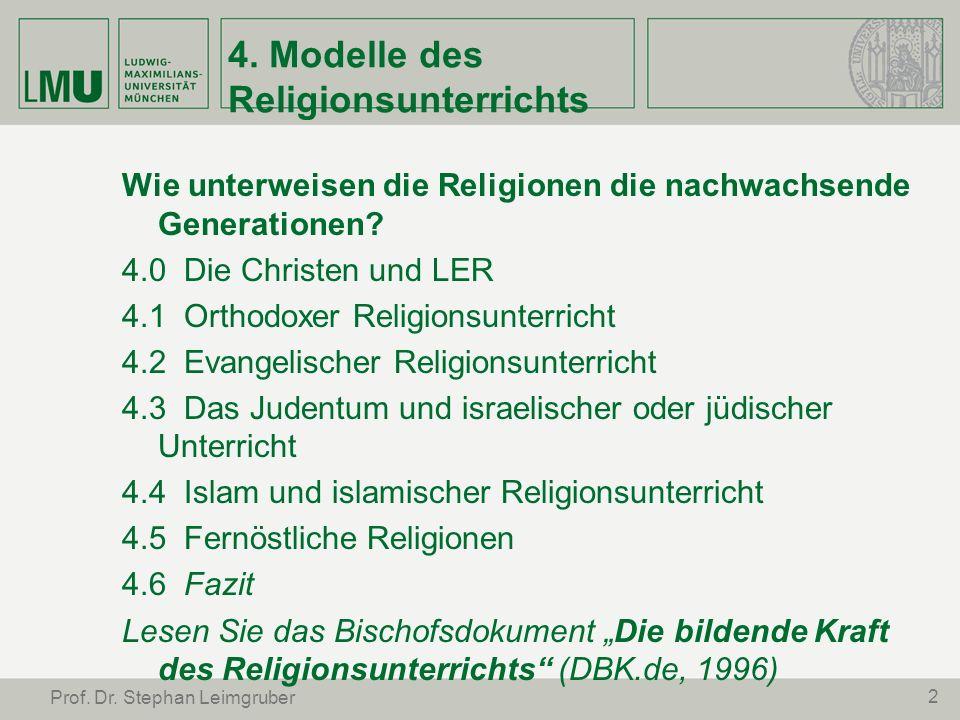 4. Modelle des Religionsunterrichts