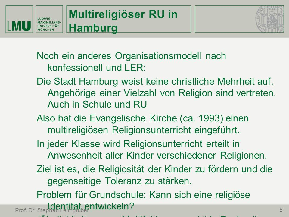 Multireligiöser RU in Hamburg