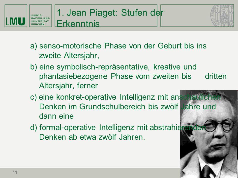 1. Jean Piaget: Stufen der Erkenntnis