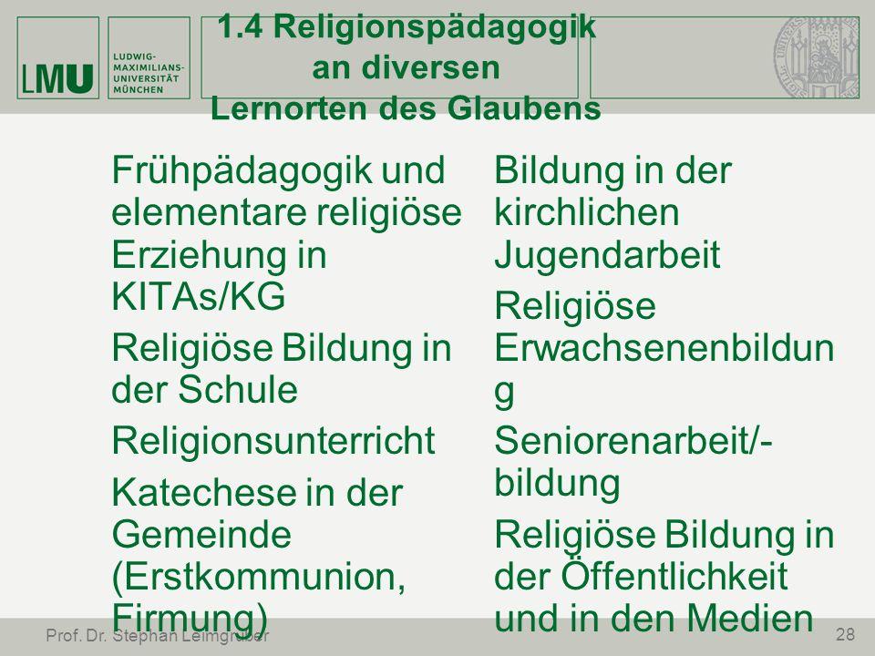 1.4 Religionspädagogik an diversen Lernorten des Glaubens