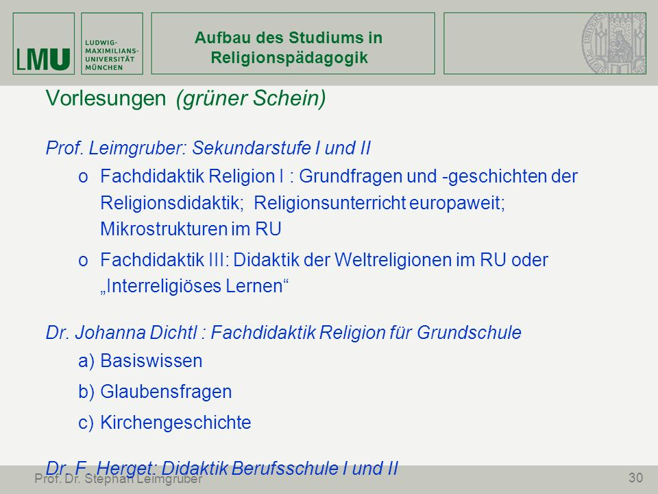 Aufbau des Studiums in Religionspädagogik