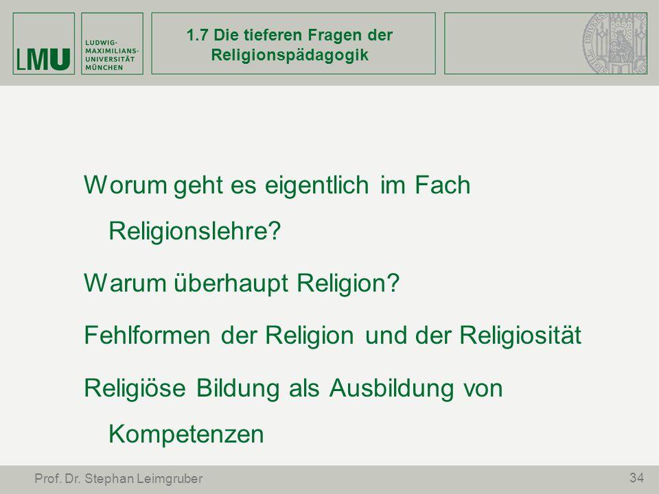 1.7 Die tieferen Fragen der Religionspädagogik
