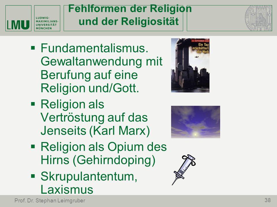 Fehlformen der Religion und der Religiosität