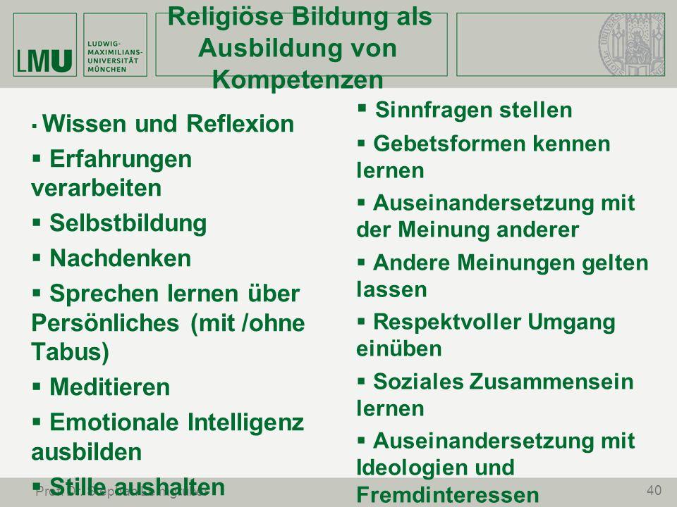 Religiöse Bildung als Ausbildung von Kompetenzen