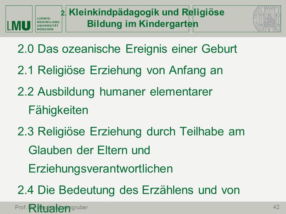 2. Kleinkindpädagogik und Religiöse Bildung im Kindergarten
