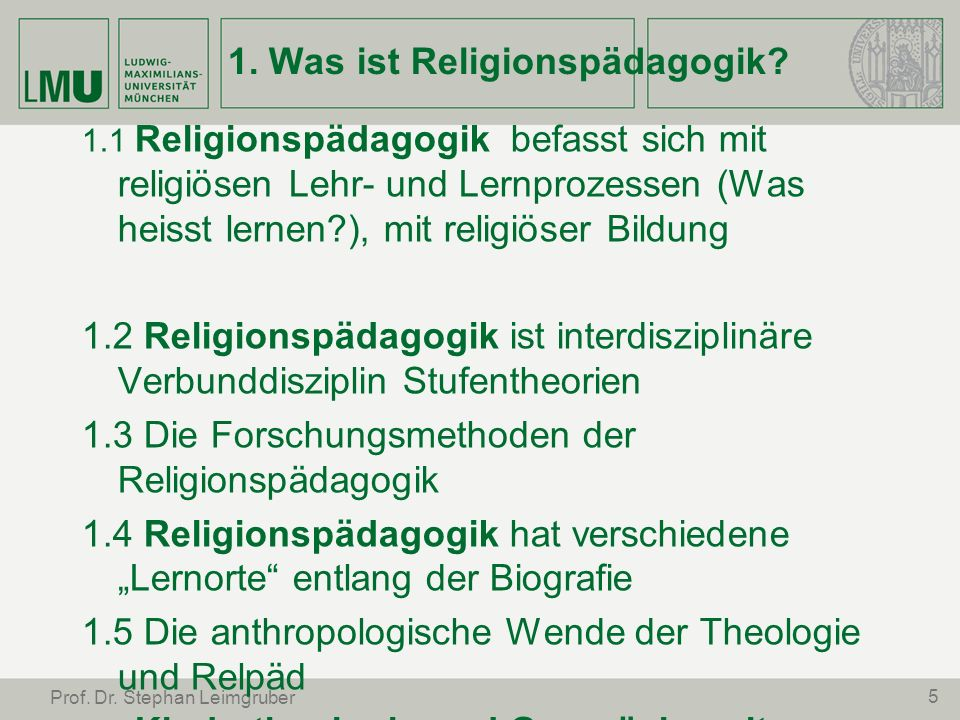 1. Was ist Religionspädagogik