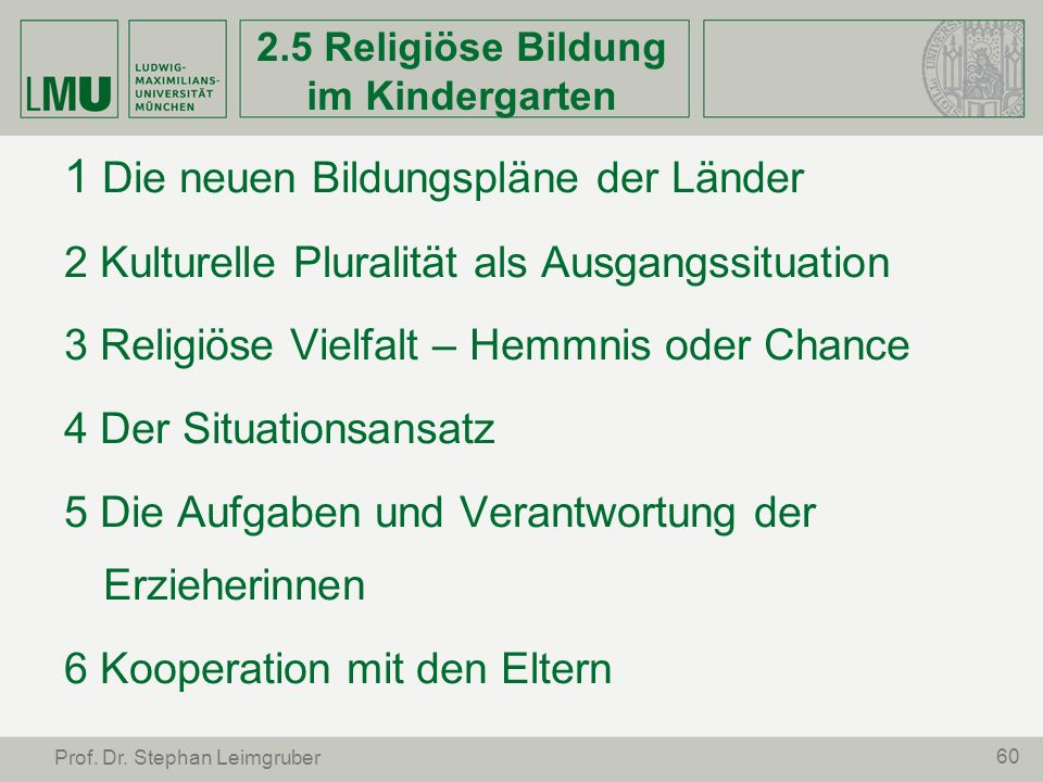 2.5 Religiöse Bildung im Kindergarten