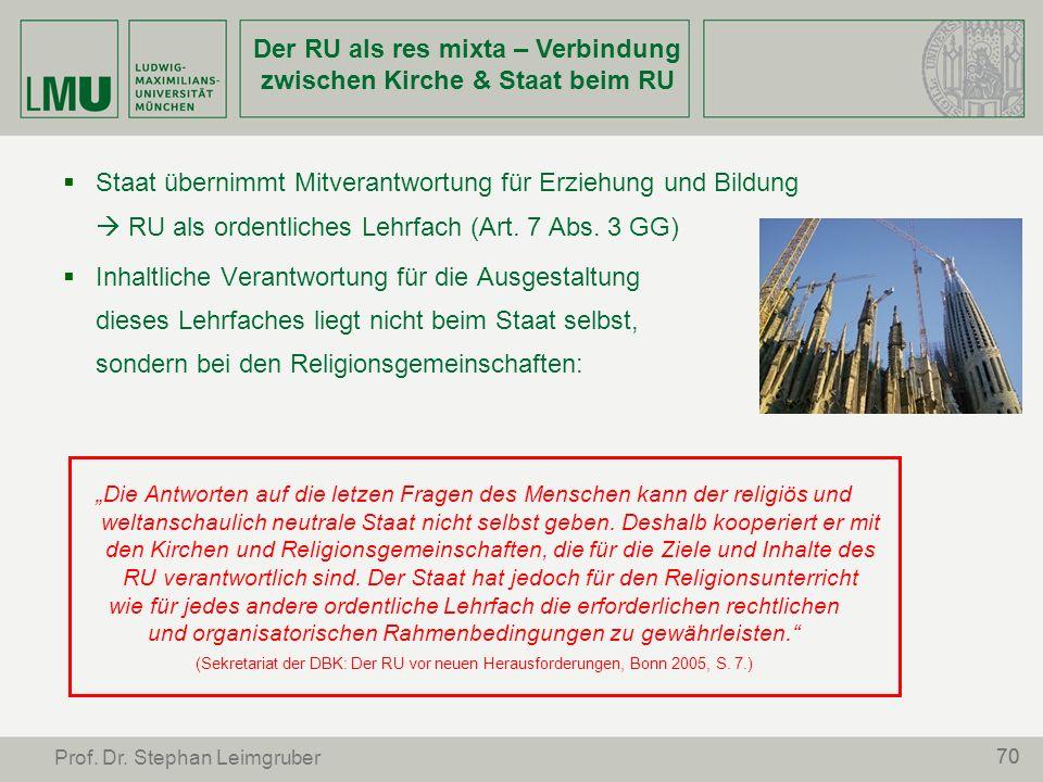 Der RU als res mixta – Verbindung zwischen Kirche & Staat beim RU