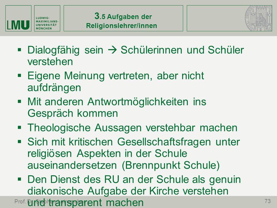3.5 Aufgaben der Religionslehrer/innen