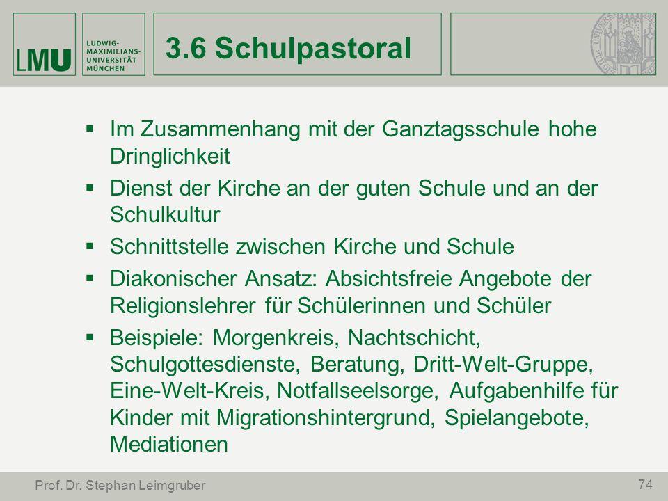 3.6 SchulpastoralIm Zusammenhang mit der Ganztagsschule hohe Dringlichkeit. Dienst der Kirche an der guten Schule und an der Schulkultur.