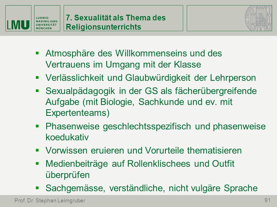 7. Sexualität als Thema des Religionsunterrichts