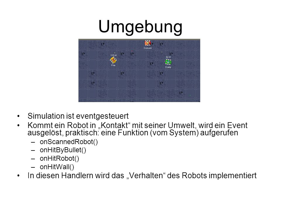 Umgebung Simulation ist eventgesteuert