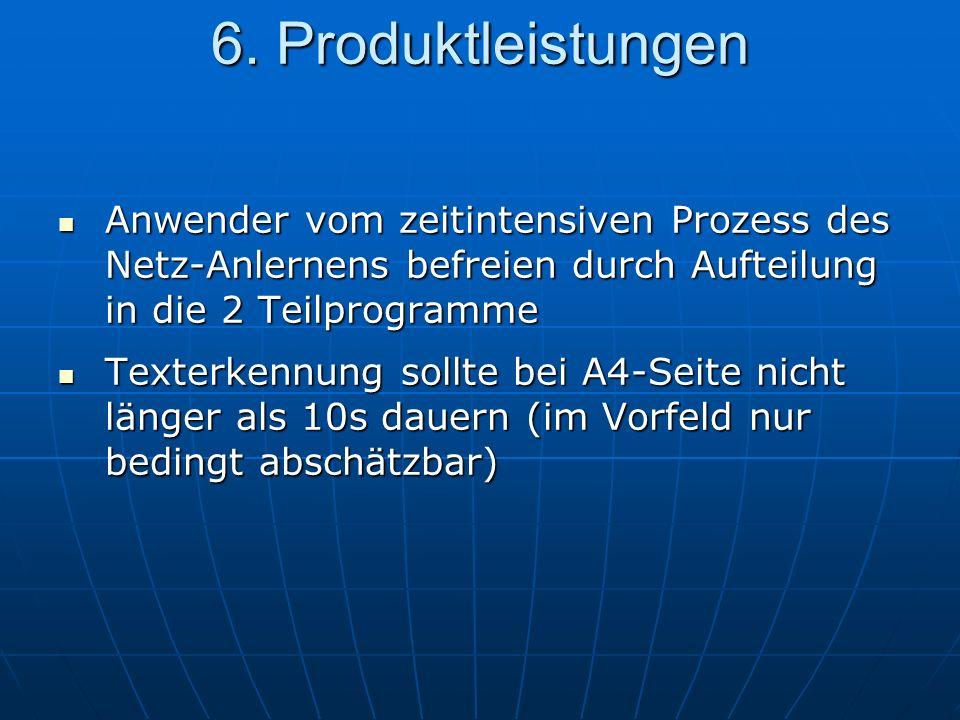 6. Produktleistungen Anwender vom zeitintensiven Prozess des Netz-Anlernens befreien durch Aufteilung in die 2 Teilprogramme.