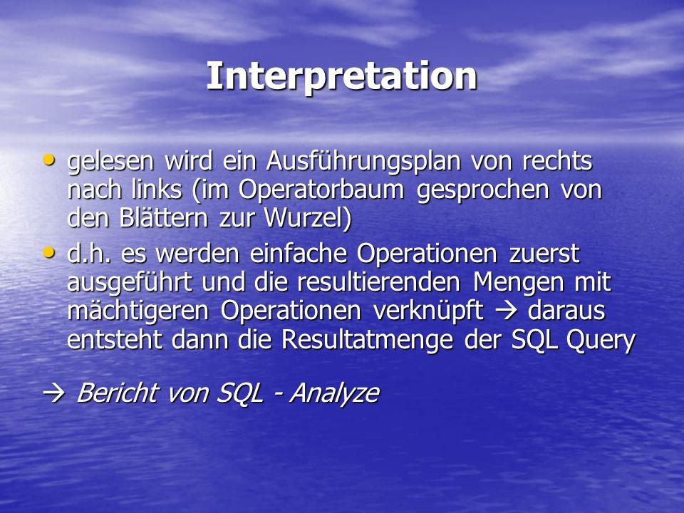 Interpretationgelesen wird ein Ausführungsplan von rechts nach links (im Operatorbaum gesprochen von den Blättern zur Wurzel)