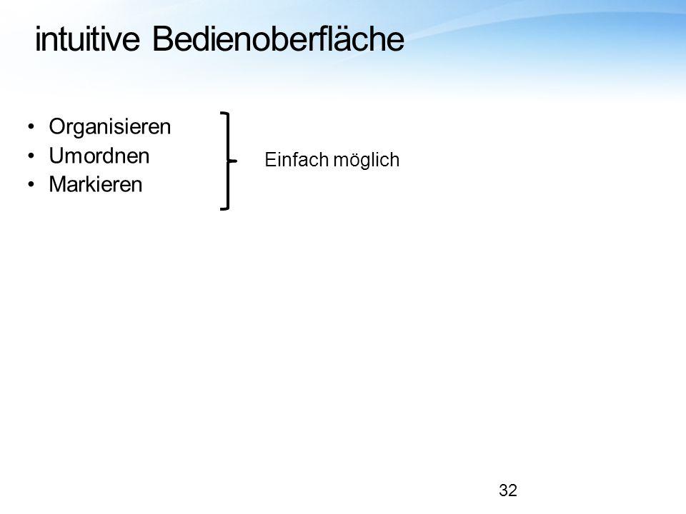 intuitive Bedienoberfläche
