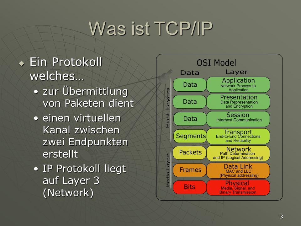 Was ist TCP/IP Ein Protokoll welches…