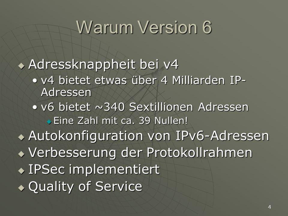 Warum Version 6 Adressknappheit bei v4