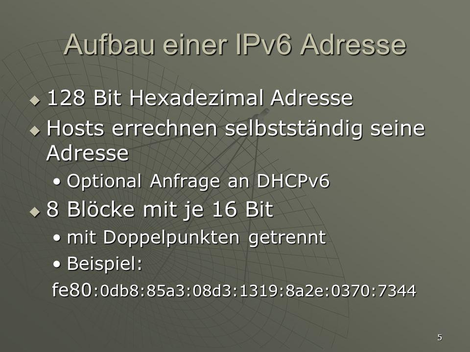 Aufbau einer IPv6 Adresse