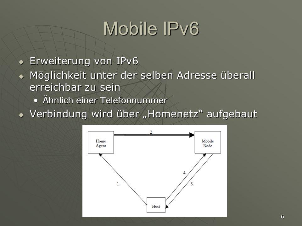 Mobile IPv6 Erweiterung von IPv6