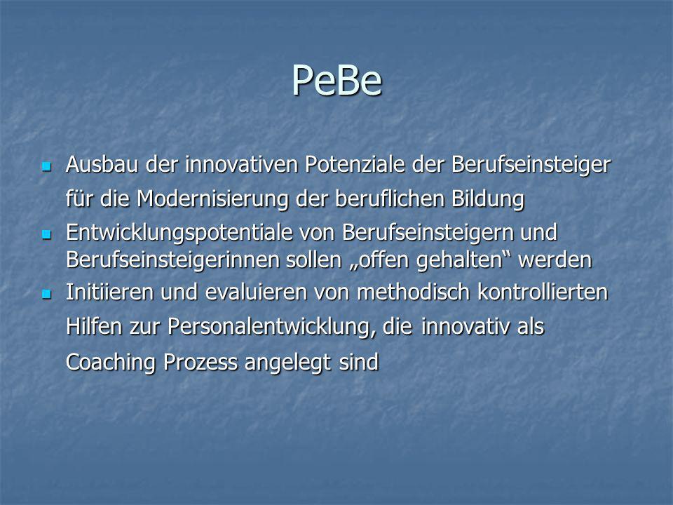 PeBe Ausbau der innovativen Potenziale der Berufseinsteiger für die Modernisierung der beruflichen Bildung.
