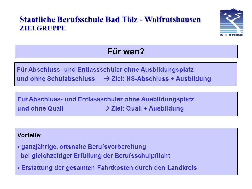 ZIELGRUPPE Für wen Für Abschluss- und Entlassschüler ohne Ausbildungsplatz. und ohne Schulabschluss  Ziel: HS-Abschluss + Ausbildung.