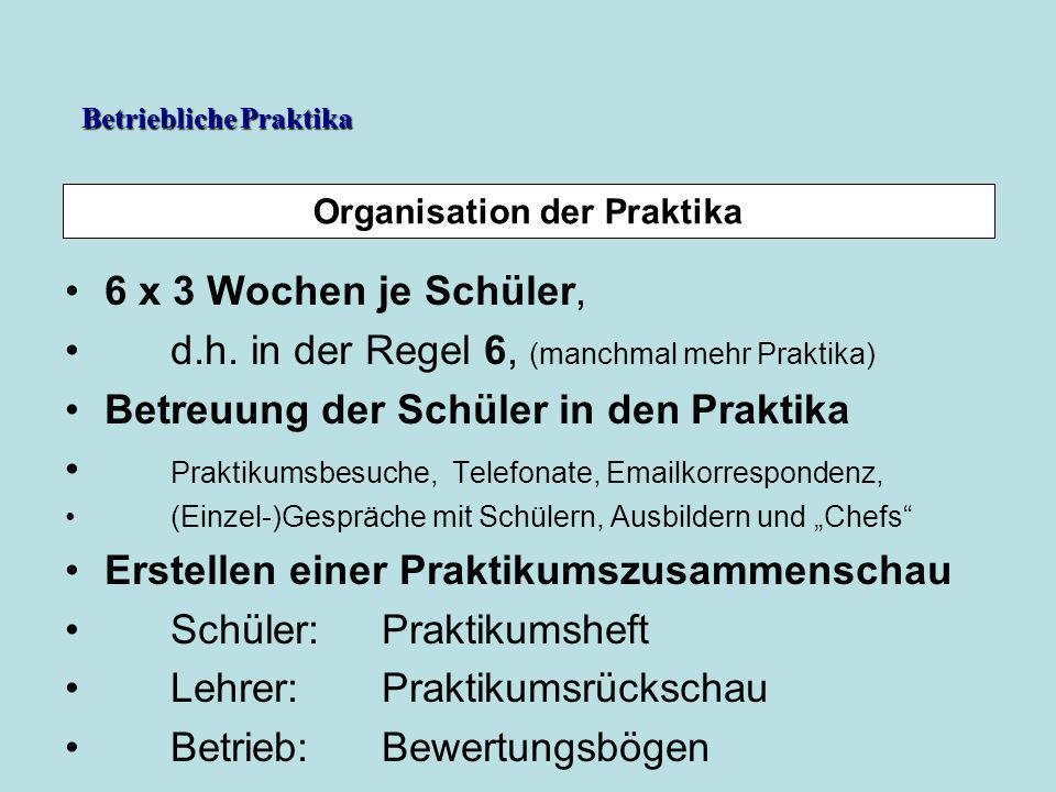 Organisation der Praktika