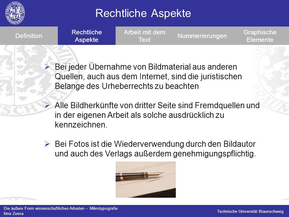 Rechtliche Aspekte Definition. Rechtliche Aspekte. Arbeit mit dem Text. Nummerierungen. Graphische Elemente.