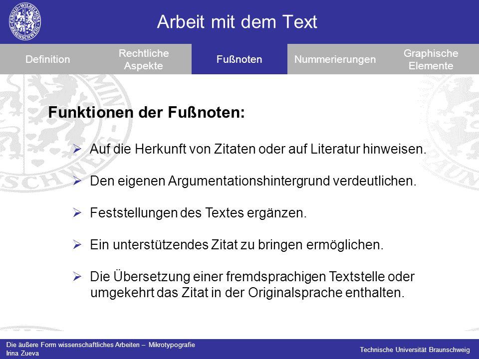 Arbeit mit dem Text Funktionen der Fußnoten: