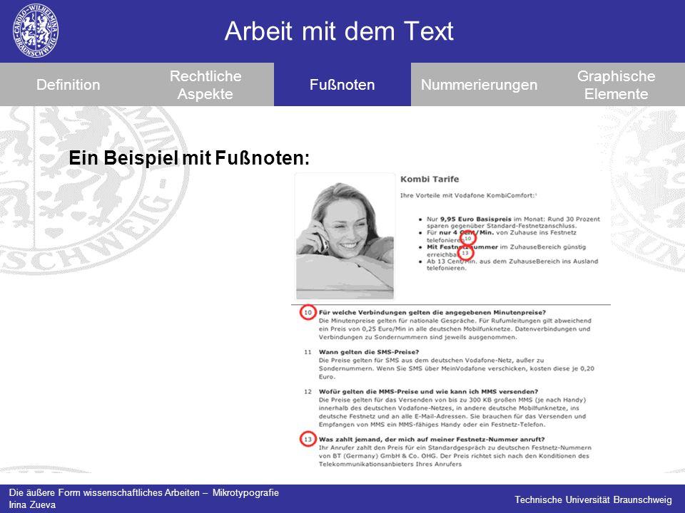 Arbeit mit dem Text Ein Beispiel mit Fußnoten: Definition