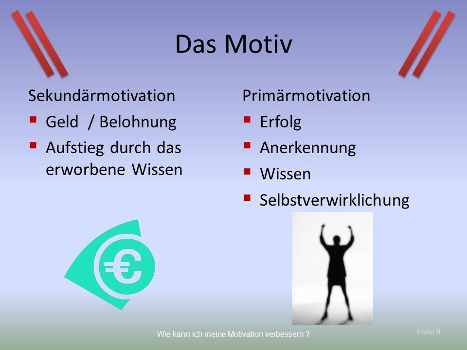 Das Motiv Sekundärmotivation Geld / Belohnung