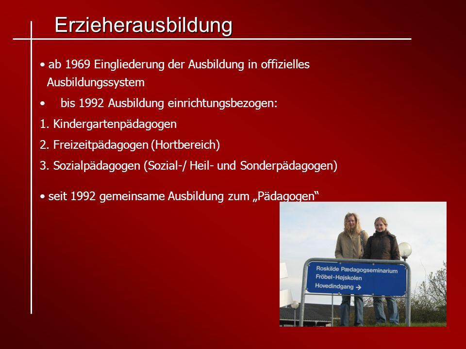 Erzieherausbildung ab 1969 Eingliederung der Ausbildung in offizielles Ausbildungssystem. bis 1992 Ausbildung einrichtungsbezogen: