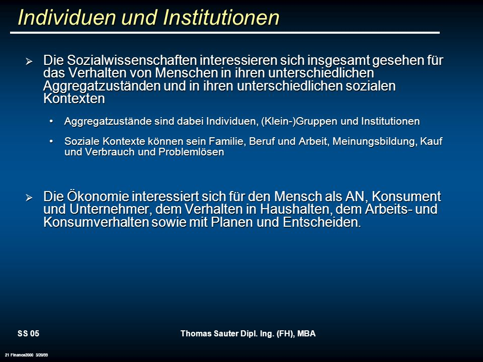 Individuen und Institutionen