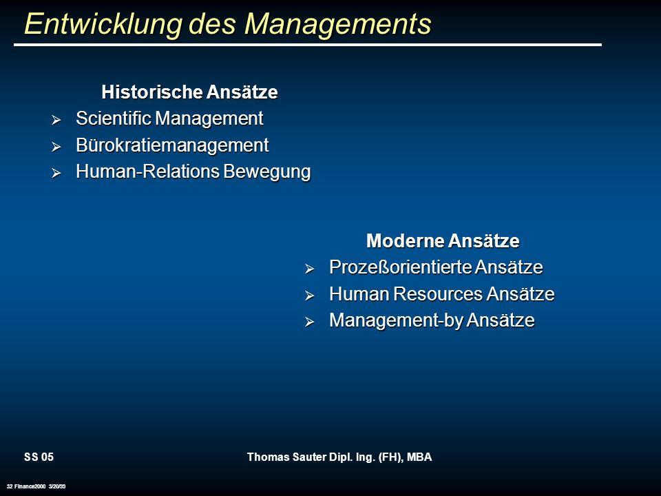 Entwicklung des Managements
