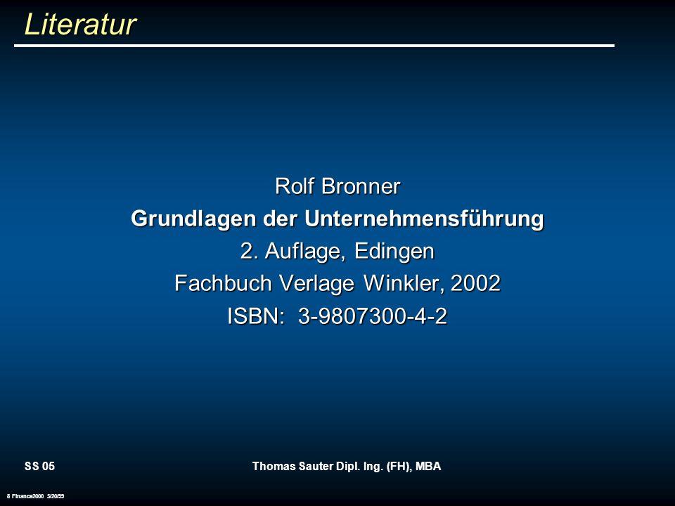 Grundlagen der Unternehmensführung Thomas Sauter Dipl. Ing. (FH), MBA